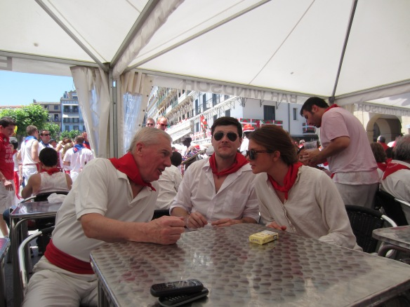 Clive Fiske Harrison, the Australian journalist, Matthew Clayfield, and me, Pamplona 2013 (Photo: Alexander Fiske-Harrison)